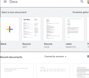 template page in Docs
